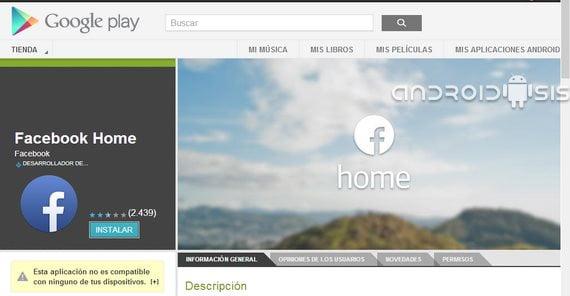 Facebook home en google play