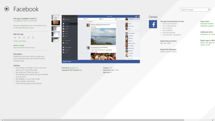 Facebook presenta aplicación de escritorio para Windows 8.1