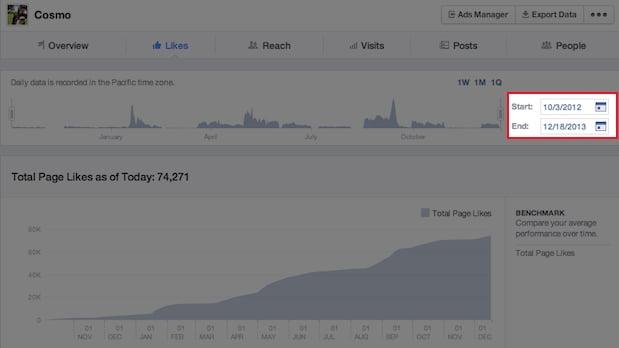 Facebook ahora con estadisticas en tiempo real